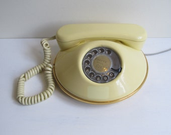 Retro Pancake telephone with Rotary Dial in white, vintage British Northern telecom 1981, 'Dawn' fully working classic ringtone