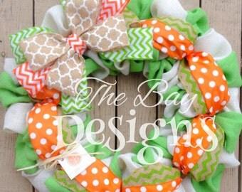 Orange and Green Burlap Wreath, Spring Burlap Wreath, Summer Burlap Wreath, Green Burlap Wreath, Spring Wreath