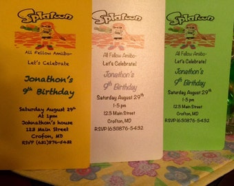 Splatoon Amiibo Nintendo birthday Invitations -- set of 10