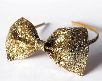 Glitter Bow Headband, Christmas Hair Accessory, Gold Hairband, Gold glitter bow, Party hair band, Prom Hair Accessories, Lolita Bow Headband