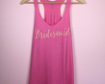 Bridesmaid Tank Top. Bridesmaid Shirt. Bridesmaid Gift. Wedding Shirts. Bachelorette Party Tanks. Bridal Party Shirts. Bridal Tank Tops.