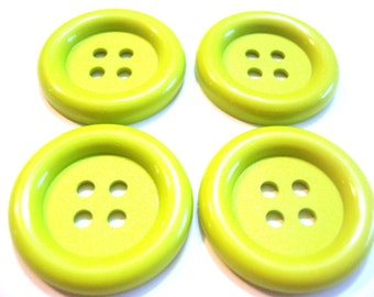 """Lime Green Buttons Large Nylon 1 3/8"""" Wide (35mm)  Embellishment Buttons Set of 4 BRIGHT"""