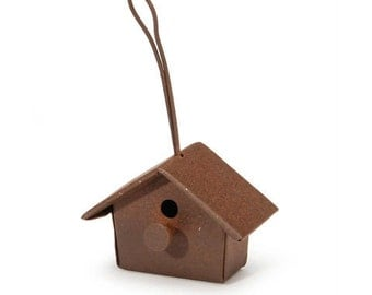Tin Birdhouse Fairy Garden Dollhouse Miniatures