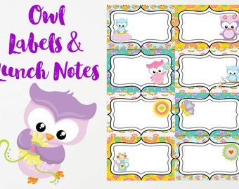 Owl Labels and Lunch Notes