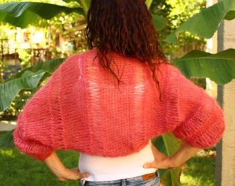 New Hand Knitted Mohair  Shrug,Bolero in Pink,Handmade Cardigan,Sweater