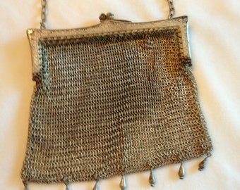 PURSE BAG - Antique Very Old Victorian Edwardian German Silver Mesh Bag Purse RARE Collectsble Metal Fringe Great Condition WildRosesVintage