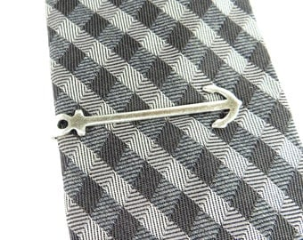 Anchor Tie Bar- Anchor Tie Clip- Anchor Tie Pin- Sterling Silver Or Antiqued Brass Finish