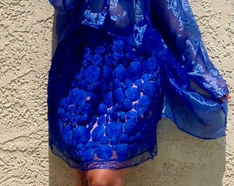 Blue Organza High Low Blouse