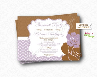 Beautiful Floral Lavender and Brown Farewell Party Invitation. Goodbye Invite. Saying Goodbye. Printed or Printable Invitation for her.