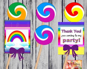 Printable Rainbow Thank you Lollipop Covers