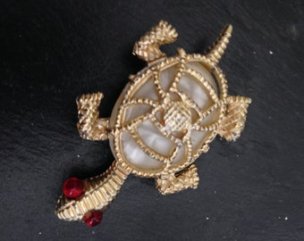 Turtle Brooch with Red Eyes