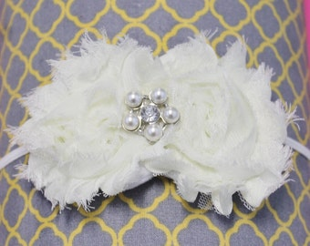Shabby Chic Flower Headband with Bling - Bling Shabby Chic Flower Headband