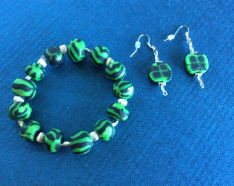 Polymer Clay Bracelet and Earrings