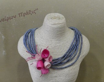 Unique necklace-handmade necklace with silk cocoons-flowers necklace-romantic jewellery-