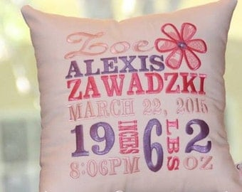Flower Birth Announcement Pillow...Embroidered and Unique