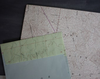 Map Stationery | Recycled Vintage Nevada Topographic Map Letter Paper + Envelopes Stationery Set | 20 Letter + 7 Envelopes | Made in USA
