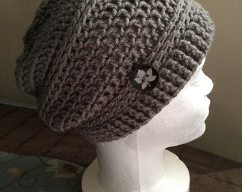 Crochet Slouch Hat Grey, Womens Beanie, Mens Beanie, Womens Slouch Beanie, Crocheted Beanie, Knit Beanie, Fall Apparel