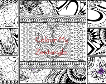 Digital Download Collage Zentangle - A4 Colouring Page Landscape