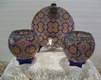 Stained glass look Plate and votive Candleholders centerpeice, Stained glass look, candleholder, decorative plate