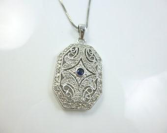 Sterling Silver Pendant Necklace,  CZ Necklace, Vintage Style Jewelry, Sapphire Pendant