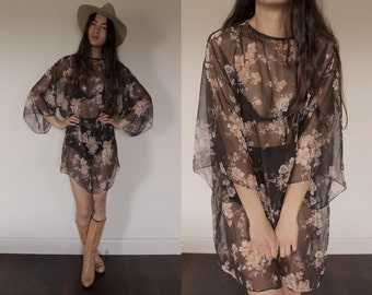 60's Vintage floral oversized sheer summer boho festival dress S/M/L
