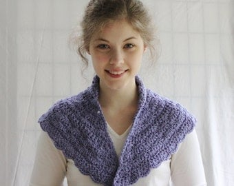 Hand Crochet Purple Tea Shawl. Crocheted Lavender Shawlette, Hand Knit wrap