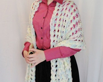Lacy Pastel Hand Knit Shawl, Photo Shawl for Baby and Mom, Maternity Shawl