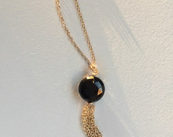 Black spinel tassel necklace with gold filled chain