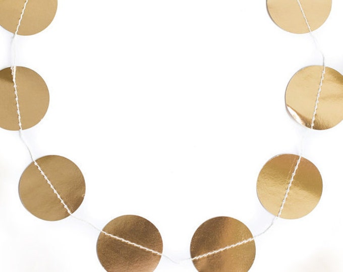 Circle Paper Garland 32 Pieces 10 feet long, Wedding Garland, Gold Foil Banner, Circle Banner, Birthday Party Banner, Gold Banner, TRP004