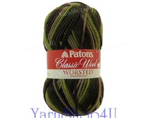 FOREST Patons Classic Wool yarn, como colors, Felting, worsted weight, medium 4 pure wool, multi color Felting wool yarn 3.5 ounces 100g
