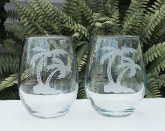 Palm Tree Wine Glass Set - 2, Stemless Wine Glasses, Personalized Wine Glass, Engraved Wine Glass, Custom Wine Glass