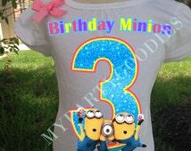 Custom Birthday Shirt, Birthday pink Minion tee ,Minions Birthday Shirt.
