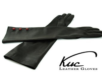 Beautiful long leather gloves, opera leather gloves with three red buttons - soft italian nappa lamb leather
