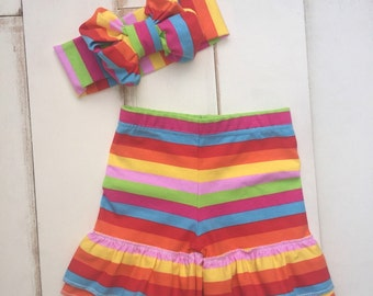 Rainbow Stripe Shorties with Sparkler Headband Headwrap