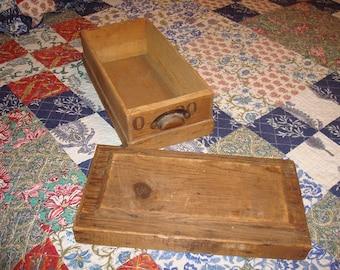 Old Wood Box, Vintage Box Wood with Metal handles
