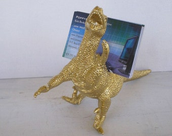 Business Card Holder, Gold Dinosaur Business Card Holder, LG Raptor, Office, Desk Accessory, Guy Gift, Home Decor, Man Cave, Dorm Room, Dino