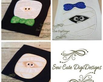 Cute Halloween Mummy Applique Design Set - 3 Designs Included