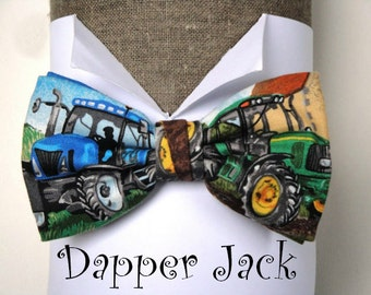 Pre tied bow tie, tractors print, adjustable neck band, will fit neck size up to 19.5 inches.