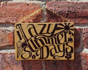 Handpainted Wooden 'Lazy Summer Days' Sign