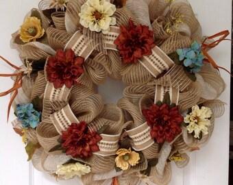 Gorgeous Burlap Autumn Floral Deco Mesh Wreath