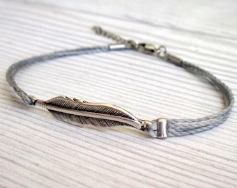 Silver Feather Cord Bracelet - Men Bracelet - Men's Gray Bracelet - Men's Jewelry - Adjustable Men Bracelet  - Gift for Him