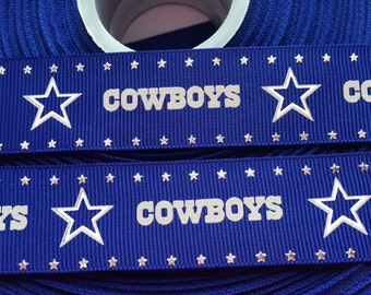 "Dallas Cowboys 1"" Glitter Grosgrain Ribbon - 5 Yards, NFL Football"