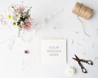 Floral square stationery overhead photography - Weddings - High Res Jpeg file 300Dpi