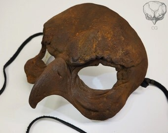 Bird Skull Labyrinth Masquerade Resin Mask RUST Painted