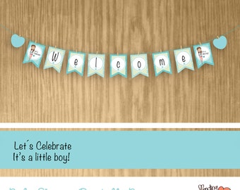 Baby Shower Printable Banner - Welcome - It's a little boy (look for girl too)