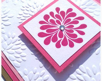 Any Occasion/Blank Greeting Card - Fuschia Pink Mums