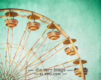 Carnival Photo Ferris Wheel Ride Photography Girls Room Decor Boys Room Wall Art Nursery Art Blue #vi101