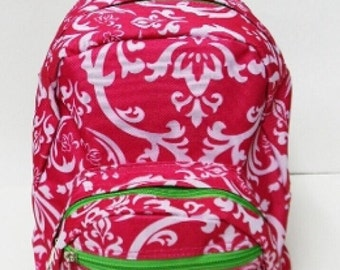 Damask print Mini Backpack with FREE Name or monogram - 3 colors Great for toddlers, Pre-schoolers, or smaller children, travel, school