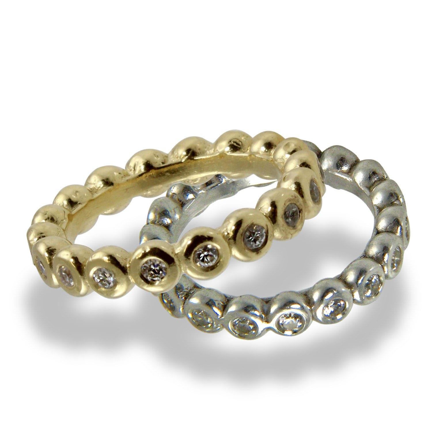Eternity Wedding Band Set Yellow Gold White Gold Diamond