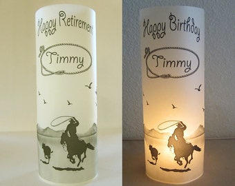 12 Personalized Retirement, Birthday Party Western, Cowboy, Rodeo, Bull Rider, Table Decoration Luminaries